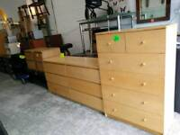 Light wood large chests of drawers and bedsides