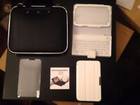 Samsung Tab 3 Bluetooth Keyboard/Leather Case, Screen Protector, Carrying Bag&Plastic Case BRAND NEW