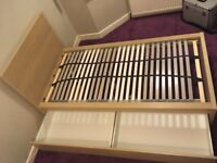 IKEA White Stained Oak Single Bed with Storage Drawers (Hardly Used)