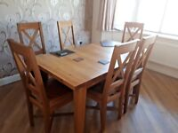 CHRISTIAN HAROLD ARDENNES SOLID BALTIC OAK EXTENDING DINING TABLE + 6 CHAIRS