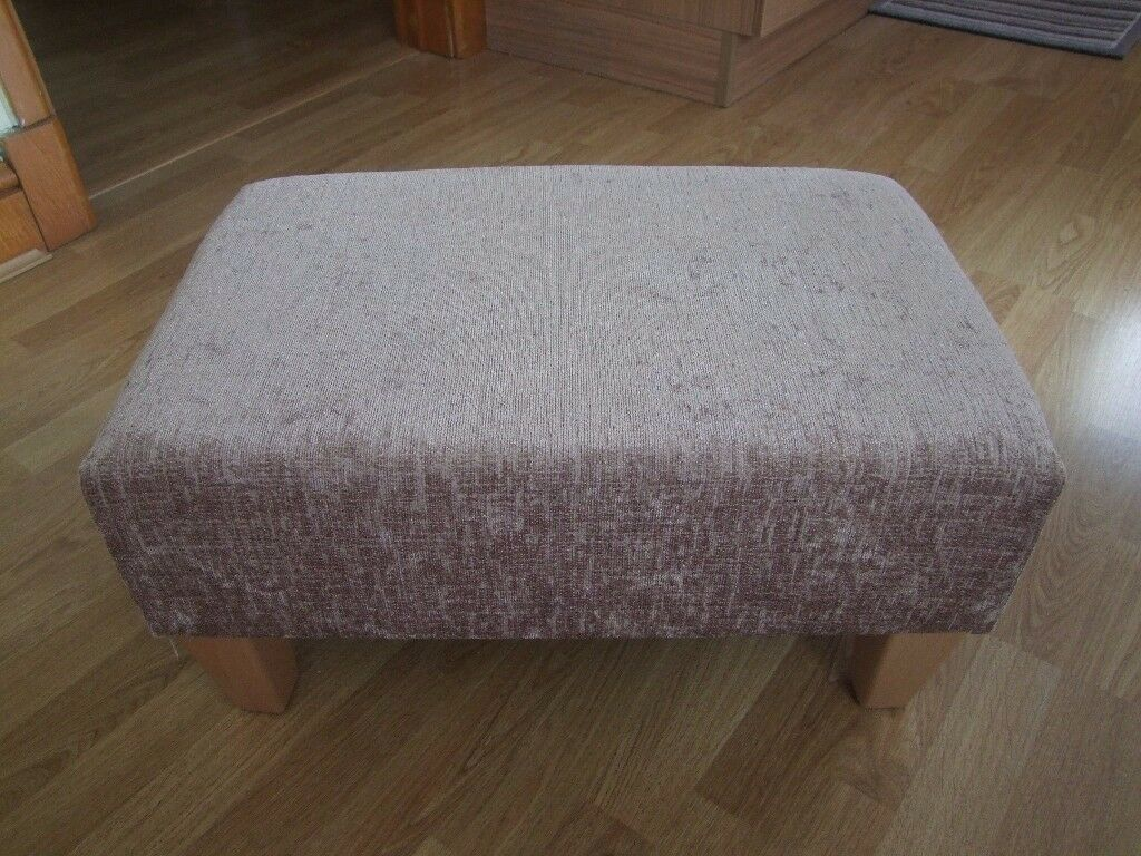 Taupe fabric covered footstool in as new condition