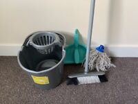 Cleaning set: bucket and mop, broom, dustpan and brush
