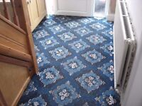 Hall, stairs and landing patterned blue carpet, very good condition.