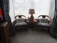 2 Antique pine chairs and lamp table.