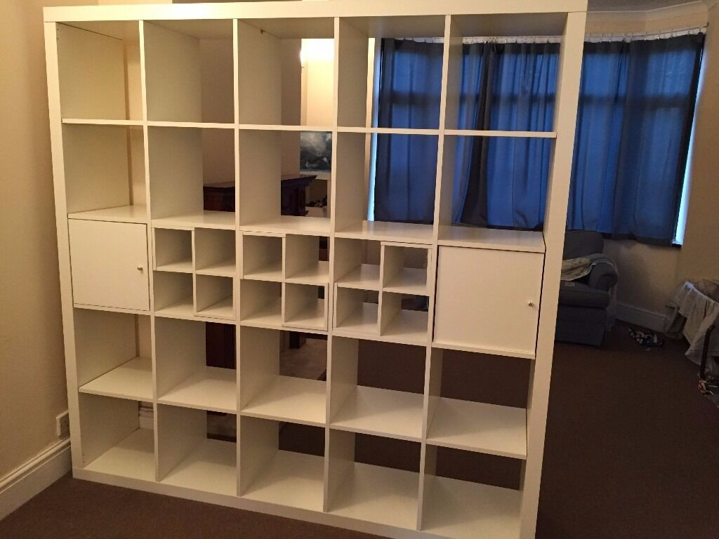 ikea kallax shelf with 5 inserts large 5x5 182 cm x182 can be taken apart in burbage. Black Bedroom Furniture Sets. Home Design Ideas