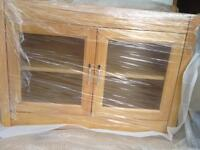 Glass Wall unit - Solid Wood - Light or Dark Wood
