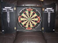 BARGAIN Winmau dart board with wood cabinet and wall fixings