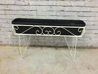 1960s Wrought Metal Planter - Metal With Black Plastic Liner! RARE!!