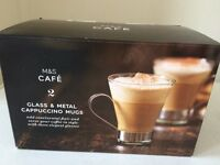 M&S Glass Coffee or Cappuccino Mugs BNIB