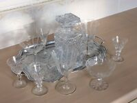 Crystal whisky decanter and crystal glasses