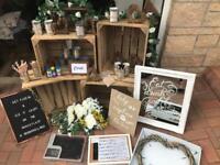 Big bundle of wedding decor for barn or rustic wedding