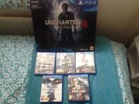 Brand new unused ps4 slimline 500gb,1 wireless controller,5 games,chartered 4,division still sealed