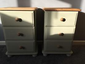 Shabby chic solid pine bedside tables