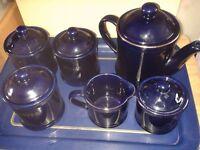 Navy Blue Tea, Coffee, Sugar set with Tea pot, milk pot and brown sugar pot. Tray and plates