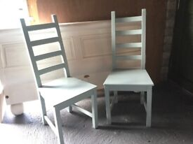 Two Dining Room Chairs Duck Egg Blue