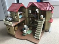 Huge Sylvanian Families Bundle inc Willow Hall, Cosy Cottage, Nursery, Shop, Caravan, Car + more