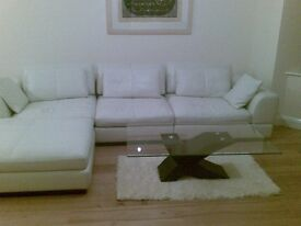 Beautiful Cream Designer Italian Leather Sofa Corner Chaise Suite