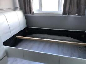 Small Double Faux White Leather Bed