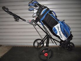 Set of golf clubs and 2/3 wheel trolley