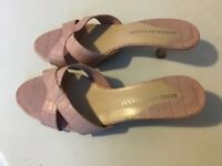Ladies Pink Leather (Roberto Vianni) Backless Shoes - Size 7