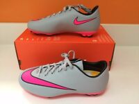 Brand new - Nike Victory VI F boys / girls football boots - Grey/pink - Sizes 2.5 / 5 UK