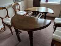 Victorian mahogany dining table and 4 balloon back chairs