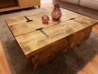Hand Made Rustic Coffee Table, Trunk Rustic Chest Farmhouse Blanket Box