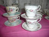 Vintage Cups and Saucers Ideal For Weddings, Afternoon Teas etc