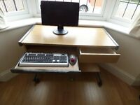 Compact computer table with drawer and pull out keyboard pad, teak finish in excellent condition
