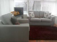 Light grey 2 seater sofa and 2 armchairs