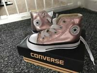 Rose gold converse infant/baby size 4