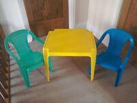 Kiddies plastic table & chairs