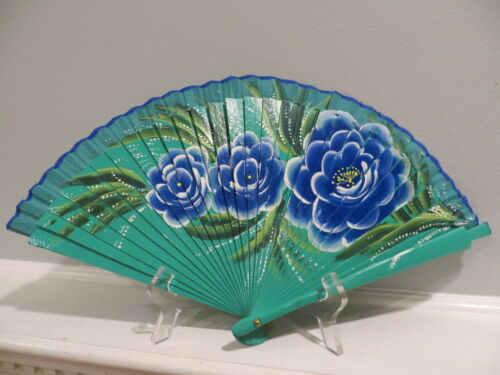 Vintage Spanish Hand Painted Green & Blue Folding Fan