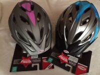 2 Bell cycle helmets. Brand new with packaging. 1 grey & pink 1 blue & black. Age 14+. £10each.