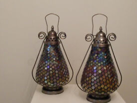 5 x Mosaic Tea Candle Lamps - used