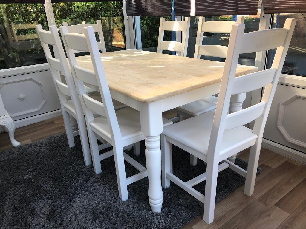 Lovely 5ft Shabby Chic Oak Table With 6 Chairs In Mansfield Nottinghamshire Gumtree