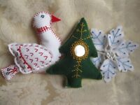 Handmade Fabric Christmas Decorations. Come and learn hand embroidery with beads, sequins & mirrors.