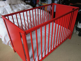 Red Ikea cot/cot bed for sale - good condition