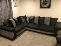 Back and Grey Corner Sofa and Double Swivel Chair from Sofology Excellent Condition
