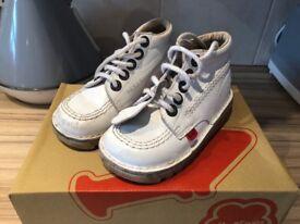 White Leather Kicker Boots size 28, in original box