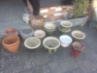 Assorted decorative plant pots