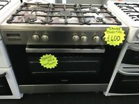 CANDY BRAND NEW 100CM DUAL FUEL RANGE STYLE COOKER IN SHINY SILIVER. R