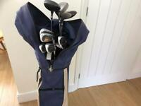 GOLF CLUBS RIGHT HANDED. FULL SET IRONS INCLUDING WOODS 1 3 5 + PUTTER UMBRELLA etc .