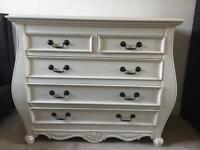 Solid Wood White Chest of Drawers.