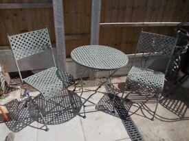 vintage Wrought Iron folding bistro/patio set