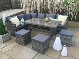 Rattan Garden Furniture Corner L Shape Sofa Dining Set