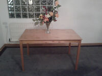 Solid pine dining table unmarked