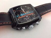 new tag Heuer Monaco leather strap automatic watch with Open work back