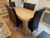 Chunky Oak 1.8m Dinning Table & 6 x Ascot Faux Brown Leather Chairs