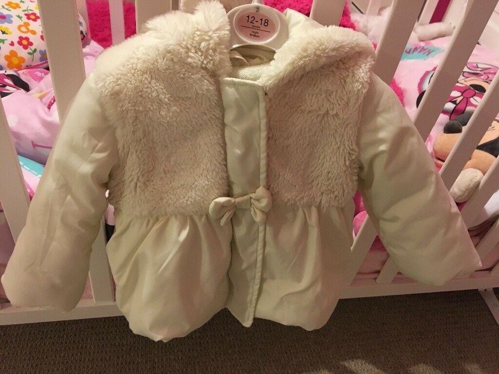 White fur coat 12-18 months
